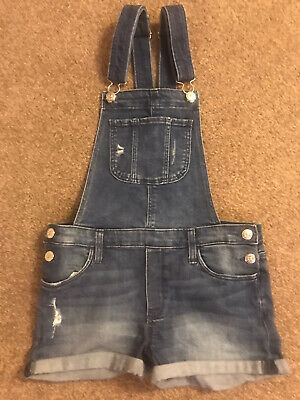 H&M Girls Short Denim Dungarees Age 11-12