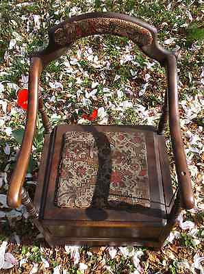 Antique Ornate Cushioned Potty Chair With Agate Slosh Pot & Lid