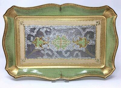 Florentine Hand Carved Wooden Tray, Hand Painted with 18K Gold Infused Paint,...