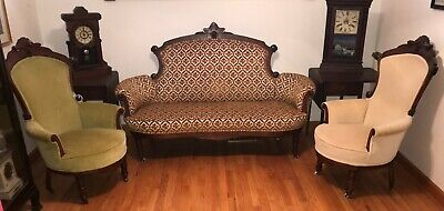 American Renaissance Revival Eastlake Parlor Set Carved Head Accent Sofa Chairs
