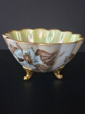 Antique Limoges Elite Hand Painted Footed Bowl