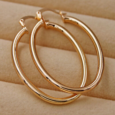 18K Gold Filled - 1.8'' Big Simple Hollow Oval Hoop Women Party Chic Earrings DS