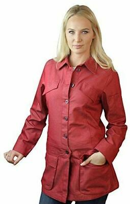 ASD Living Stylized Red Denim Long Sleeve Chef Coat,X-Large