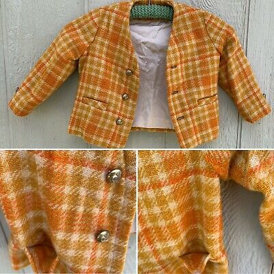 Vintage Wool Blazer Jacket Plaid With Nautical Anchor Buttons Toddler Or Kids