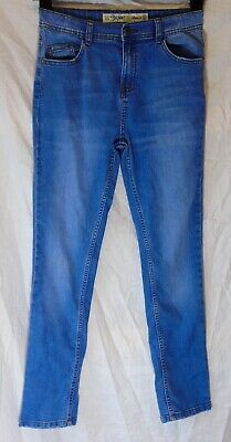 Boys Primark Blue Whiskered Denim Adjustable Waist Skinny Jeans Age 11-12 Years