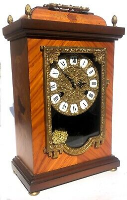 Lovely Hermle Marquetry Inlaid Mantel Clock Ting Tang Striking