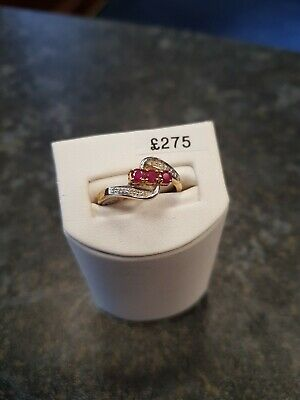 9ct Yellow Gold Ring With Ruby Stones and Diamonds Size O