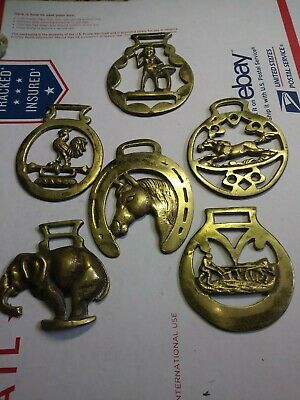 Lot of 6 Vintage Brass Horse Harness Bridle Medallions Parade Ornaments Decor