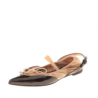 RRP €370 MOSCHINO Leather & Satin Ballerina Style Flats Size 36 UK 3 US 6 Bow