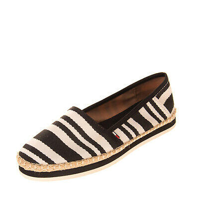 TOMMY HILFIGER Espadrille Shoes Size 37 UK 4 US 6.5 Striped Elasticated Inserts