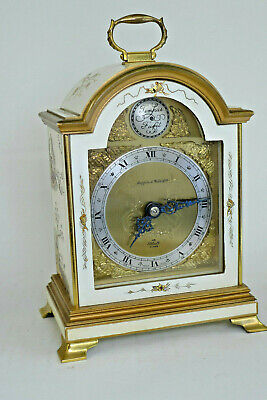 Vintage ELLIOTT Chinoiserie White & Gold Lacquer 8-day carriage/mantel clock