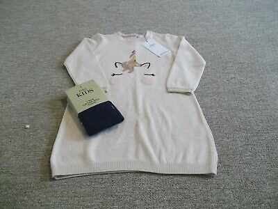 Marks and Spencer Unicorn Jumper Dress with tights Age 2-3 years BNWT