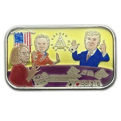 Variant Yellow Enameled Donald Trump Trumped 1 oz .999 Silver Art Bar 123 Minted
