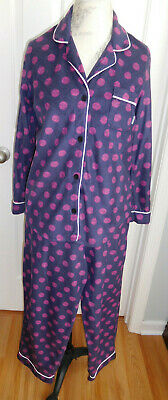 NWOT SOFT COMFY DEEP PURPLE w/DOTS DKNY WOMEN'S PAJAMA SET IN SIZE LARGE (12-14)