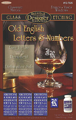 (Old English Letters & Numbers) - Armour Etch Designer Stencil Pak Old English