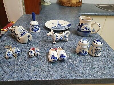 Delft Blue and White Items x 10 - Hanging Plate, Clogs, Bell, Creamer - Unused