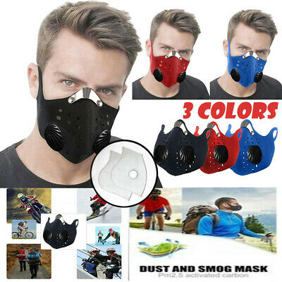 New Anti Air Pollution Face Mask Respirator & 2 Filters P2 Washable Adjustable
