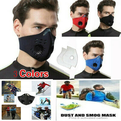 Anti Air Pollution Face Mask Respirator & 2 Filters P2 Reuseable Adjustable Mask