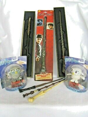Harry Potter Collection of 6 Wands + Grey Owl & Snowy Owl