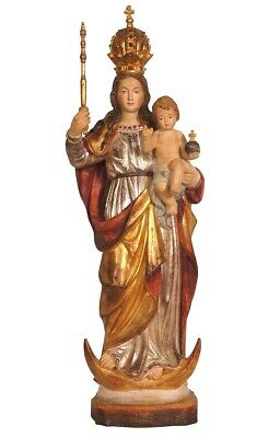 Antike Bavaria Madonna mit Kind, Maria Königin, Mary wood Holzfigur Statue