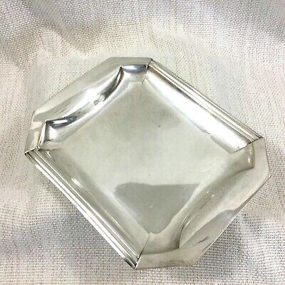 Christofle Small Tray French Art Deco Vintage Silver Plated Geometric