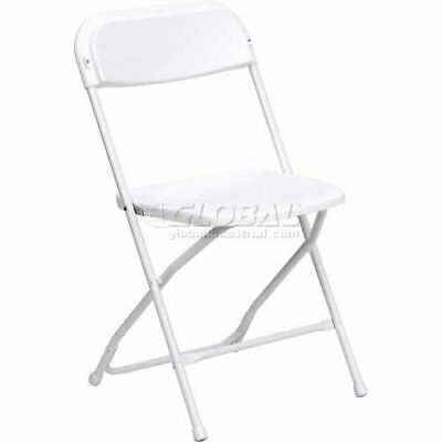 Plastic Folding Chair, 800 lbs. Capacity, White, Lot of 10