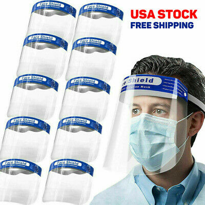 10PCS Full Face Shield Safety Clear Glasses Protector Anti-Fog for Dental