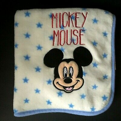 Disney Baby Cream Blue Mickey Mouse Spell Out Blanket Stars Soft Security Lovey