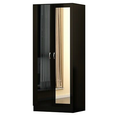 Chilton Double Wardrobe with Mirror in Black High Gloss