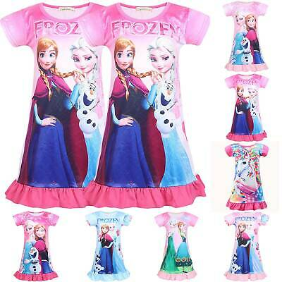 UK Kids Frozen Elsa Anna Girls Nightdress Nightie Dress Sleepwear Pajamas Skirts