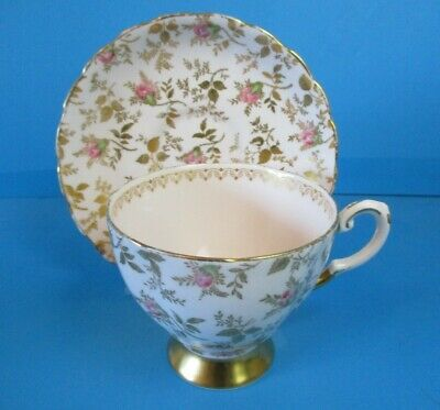 Tuscan Cup & Saucer Chintz Style Small Pink Flowers & Gold Leaves Nice Condition