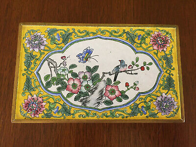 Antique Chinese Canton Enamel Box Qing Dynasry Yellow w/ Flowers Bird Gilded 6x4