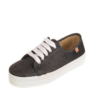 SABATINI Canvas Low Top Sneakers Size 40 UK 7 US 10 Flatform Sole Logo Lace Up