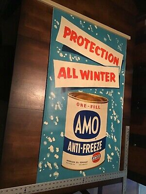 Old Amoco Gas Oil AMO Antifreeze Advertising Poster  1