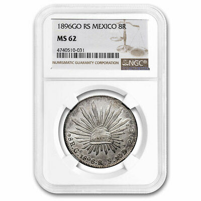 1896-Go RS Mexico Silver 8 Reales MS-62 NGC - SKU#210949