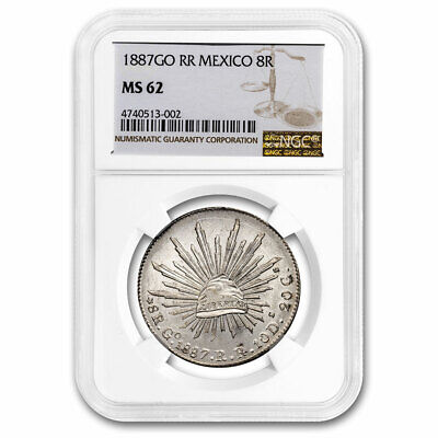 1887-Go RR Mexico Silver 8 Reales MS-62 NGC - SKU#210945