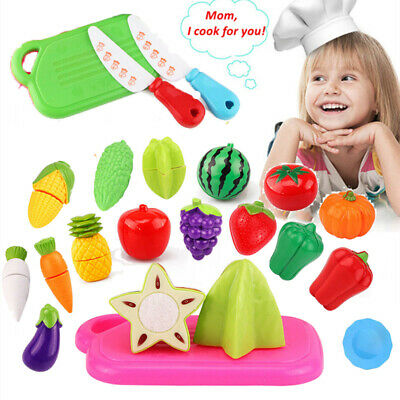Kids Kitchen Fruit Vegetable Food Pretend Role Play Cutting Set Toys BP