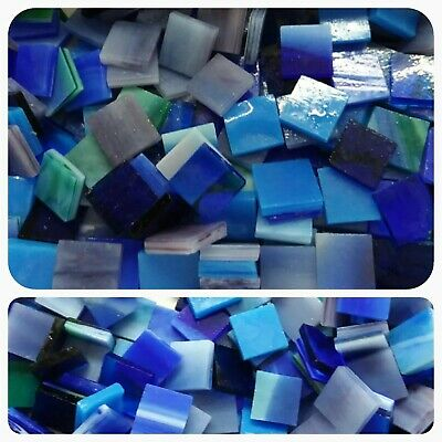 "100 - 1/2"" Mosaic Tiles Stained Glass Mixed Blue"