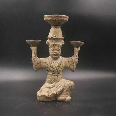 China TangDynasty Tri-coloured Glazed Pottery Fat Tomb Figure Candlestick Statue