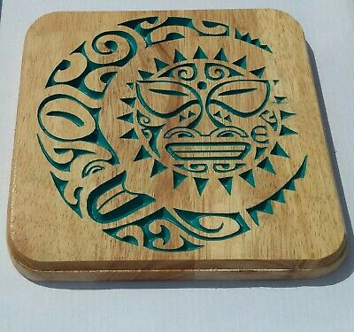 Wood Wall Hanging Tribal Sun Moon Carving