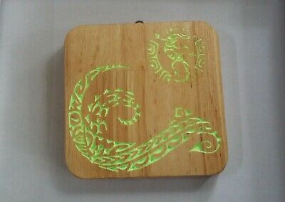 Wood Wall Hanging Tribal Waves Carving Glow in the Dark