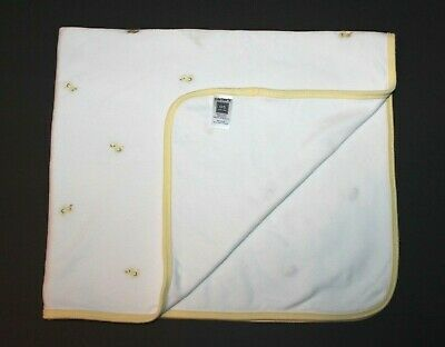 Carters Embroidered Ducks White Yellow Cotton Receiving Baby Blanket 2 Ply Lovey