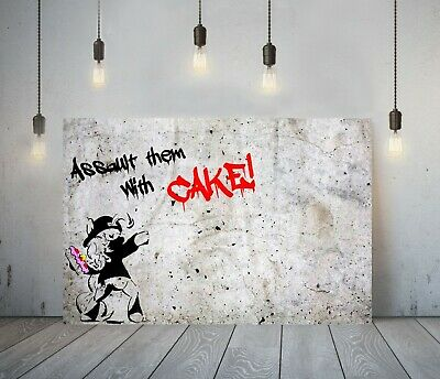 Banksy Assault Them With Cake -Deep Framed Canvas Wall Art Graffiti Print- Red