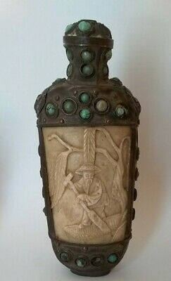 Antique Chinese Tibetan Snuff Bottle Hand Crafted W/Carved Yak Bone & Turquoise