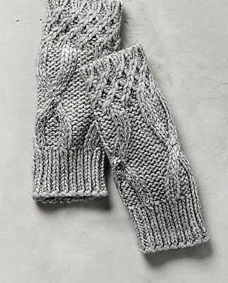 New Nwt Anthropologie Gray & Silver Metallic Northern Light Fingerless Gloves