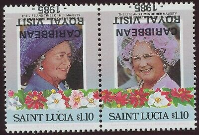 ST. LUCIA 1985 Queen Elizabeth visit in the Caribbean U/M INVERTED OVERPRINT