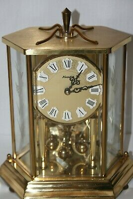 Vintage Kundo Anniversary Battery Operated Clock in Etched Glass Case