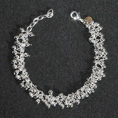 Art Deco Bracelet 925 Silver Plated Chain Small Round Drop Vintage Style Gift UK