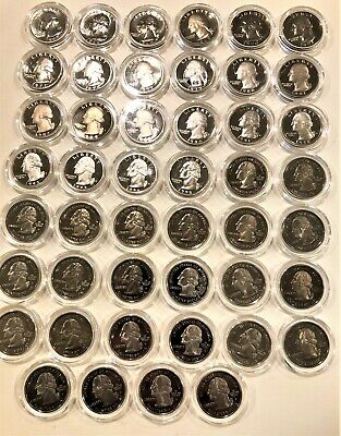 46 Proof Quarters In Plastic Enclosures From 1965-2007, See Pictures And List