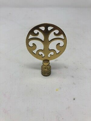 "LAMP FINIAL Antique Vintage ORNATE MODERNIST TREE FLEUR - Brass Round Shape 3"" H"